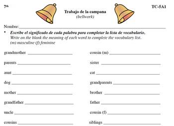 Spanish Activities - Bellwork TC75A PDF