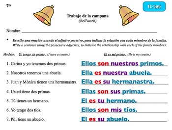 Spanish Activities - Bellwork TC75A PowerPoint