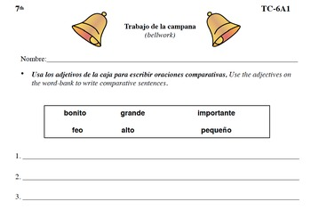 Spanish Activities Bellwork TC75B6A PDF
