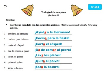 Spanish Activities Bellwork TC76B Keynote