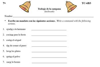 Spanish Activities Bellwork TC76B PDF