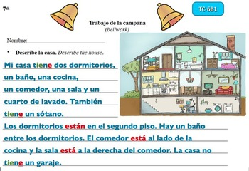 Spanish Activities Bellwork TC76B PowerPoint