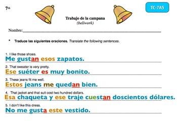 Spanish Activities Bellwork TC77A Keynote