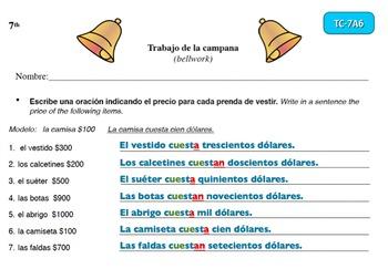 Spanish Activities Bellwork TC77A PowerPoint