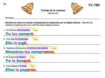 Spanish Activities - Bellwork TC77B PowerPoint