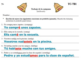 Spanish Activities - Bellwork TC77B PowerPoint