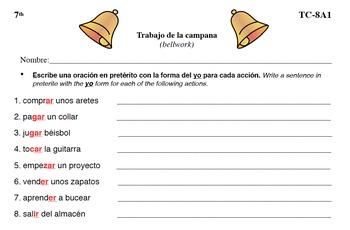 Spanish Activities - Bellwork TC78A PDF