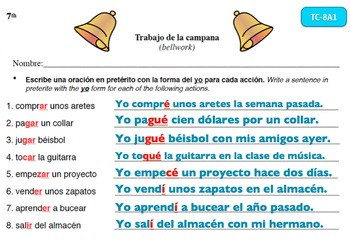 Spanish Activities - Bellwork TC78A PowerPoint