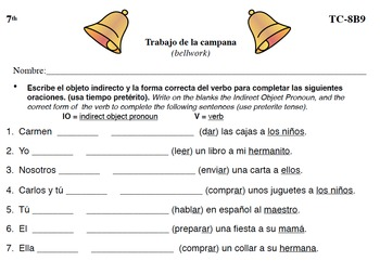 Spanish Activities - Bellwork TC78B PDF