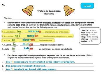 Spanish Activities - Bellwork TC79A Keynote