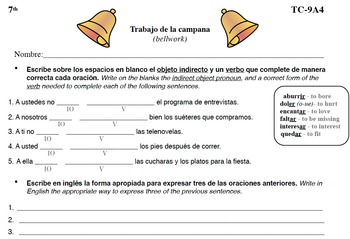Spanish Activities - Bellwork TC79A PDF