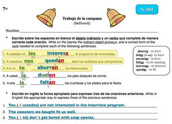 Spanish Activities - Bellwork TC79A Powerpoint