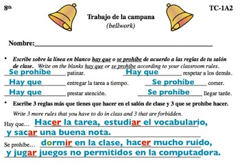 Spanish Activities - Bellwork TC81A Keynote