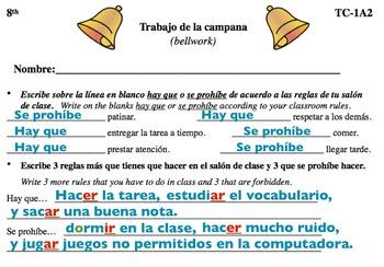 Spanish Activities - Bellwork TC81A Keynote