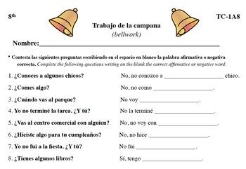 Spanish Activities - Bellwork TC81A PDF