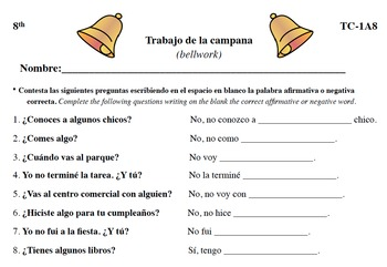 Spanish Activities - Bellwork TC81A PDF