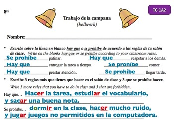 Spanish Activities - Bellwork TC81A Powerpoint