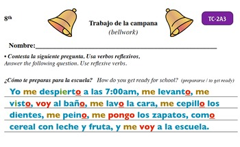 Spanish Activities - Bellwork TC82A Keynote
