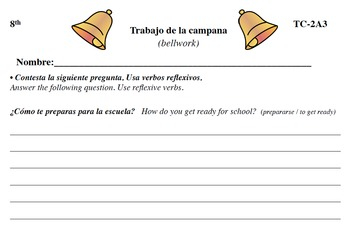 Spanish Activities - Bellwork TC82A PDF
