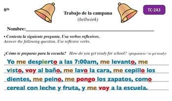 Spanish Activities - Bellwork TC82A Powerpoint