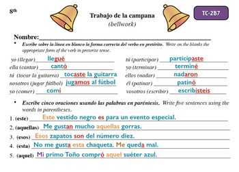 Spanish Activities - Bellwork TC82B Keynote