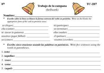 Spanish Activities - Bellwork TC82B PDF