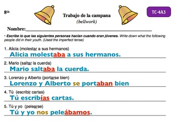 Spanish Activities - Bellwork TC84A Keynote
