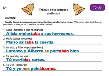 Spanish Activities - Bellwork TC84A Powerpoint