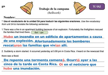 Spanish Activities - Bellwork TC85A Keynote