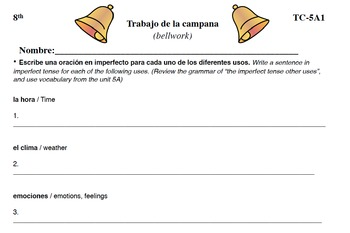 Spanish Activities - Bellwork TC85A PDF