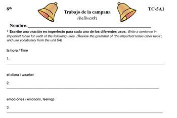 Spanish Activities - Bellwork TC85A PDF