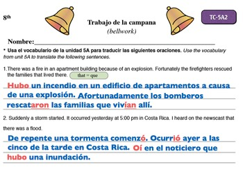Spanish Activities - Bellwork TC85A Powerpoint