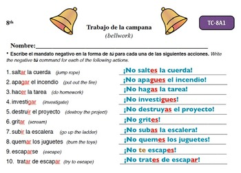Spanish Activities - Bellwork TC88A Keynote
