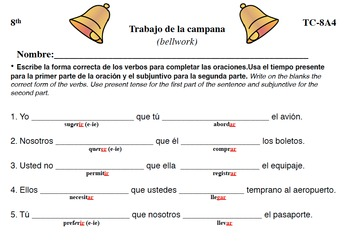 Spanish Activities - Bellwork TC88A PDF