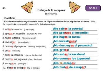 Spanish Activities - Bellwork TC88A Powerpoint