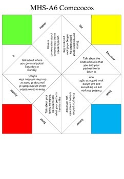 Spanish Activities Verbs Comecocos de Papel Cootie-Catcher Fortune Teller Game