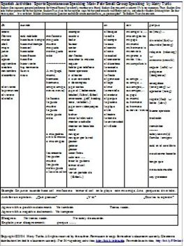 Spanish  Activities / Sports Spontaneous  Speaking Mat - Small Group