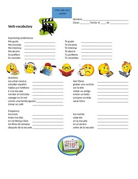 Spanish Activities Vocabulary