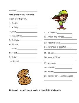 Spanish Activity Vocab Practice Worksheet