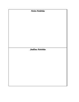 Spanish Activity Vocabulary Categorizing
