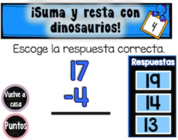 Freebie Spanish Add and Subtract with Dinosaurs| SMARTboard Game|CC Aligned