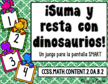 Freebie Spanish Add and Subtract with Dinosaurs  SMARTboar