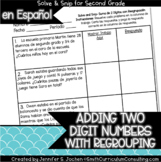 Spanish Adding 2 Digit Numbers (with regrouping) Solve and Snip