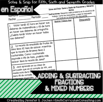 Spanish Adding and Subtracting Fractions and Mixed Numbers Solve and Snip