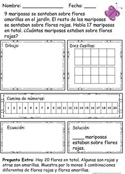 Spanish Addition, Subtraction and Comparison Word Problems within Twenty