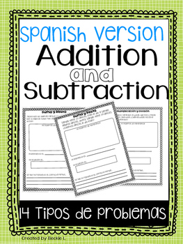 Spanish Addition and Subtraction Word Problems