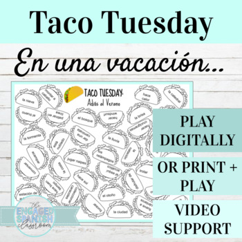 Spanish Adios al Verano TACO TUESDAY Vocabulary Game (Vacation + Weather Vocab)