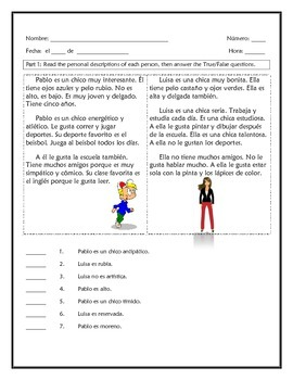 Spanish Adj. Quiz/HW