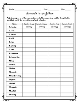 Spanish Adjective Agreement Chart
