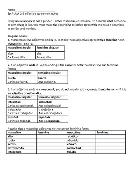 Spanish Adjective Agreement Notes and Practice Singular and Plural Forms